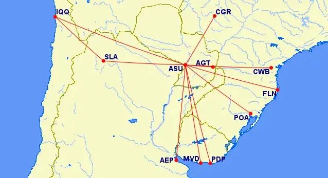 Red de rutas de Amaszonas Paraguay desde el 1 de noviembre de 2017. *PDP y FLN: Destinos de verano.