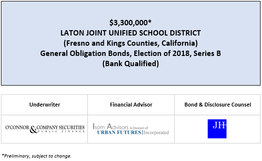 $3,300,000* LATON JOINT UNIFIED SCHOOL DISTRICT (Fresno and Kings Counties, California) General Obligation Bonds, Election of 2018, Series B (Bank Qualified) POS POSTED 2-28-20