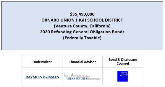 $55,450,000 OXNARD UNION HIGH SCHOOL DISTRICT (Ventura County, California) 2020 Refunding General Obligation Bonds (Federally Taxable) FOS POSTED 3-10-20