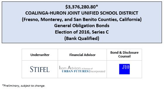 $3,376,280.80* COALINGA-HURON JOINT UNIFIED SCHOOL DISTRICT (Fresno, Monterey, and San Benito Counties, California) General Obligation Bonds Election of 2016, Series C (Bank Qualified) POS POSTED 3-20-20