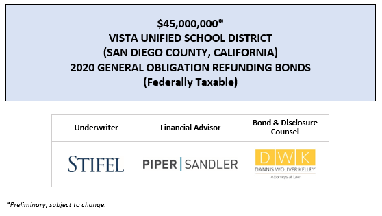 $45,000,000* VISTA UNIFIED SCHOOL DISTRICT (SAN DIEGO COUNTY, CALIFORNIA) 2020 GENERAL OBLIGATION REFUNDING BONDS (Federally Taxable) POS POSTED 3-11-20