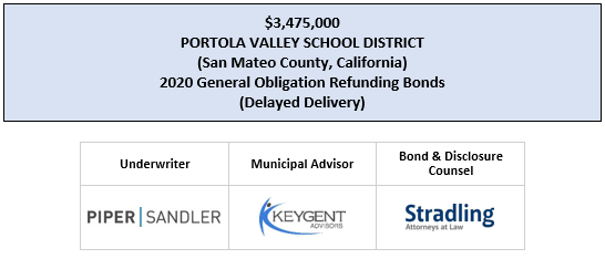 UPDATE TO OFFICIAL STATEMENT relating to $3,475,000 PORTOLA VALLEY SCHOOL DISTRICT (San Mateo County, California) 2020 General Obligation Refunding Bonds (Delayed Delivery) POSTED 4-29-20