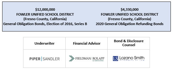 $12,000,000 FOWLER UNIFIED SCHOOL DISTRICT (Fresno County, California) General Obligation Bonds, Election of 2016, Series B $4,330,000 FOWLER UNIFIED SCHOOL DISTRICT (Fresno County, California) 2020 General Obligation Refundin FOS POSTED 4-14-20
