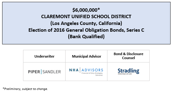 $6,000,000* CLAREMONT UNIFIED SCHOOL DISTRICT (Los Angeles County, California) Election of 2016 General Obligation Bonds, Series C (Bank Qualified) POS POSTED 4-15-20