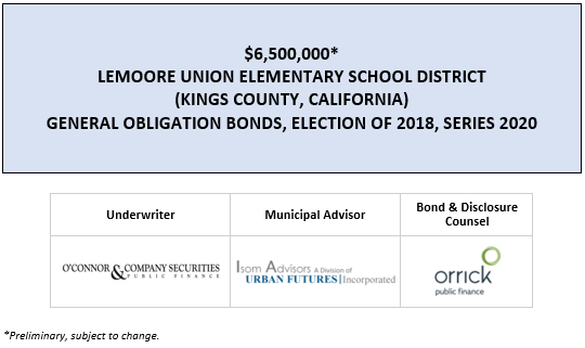 $6,500,000* LEMOORE UNION ELEMENTARY SCHOOL DISTRICT (KINGS COUNTY, CALIFORNIA) GENERAL OBLIGATION BONDS, ELECTION OF 2018, SERIES 2020 POS POSTED 4-28-20