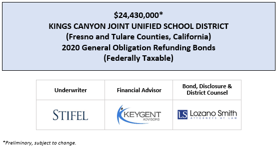 SUPPLEMENT TO PRELIMINARY OFFICIAL STATEMENT Dated: April 24, 2020 $24,430,000* KINGS CANYON JOINT UNIFIED SCHOOL DISTRICT (Fresno and Tulare Counties, California) 2020 GENERAL OBLIGATION REFUNDING BONDS (FEDERALLY TAXABLE) POSTED 4-24-20