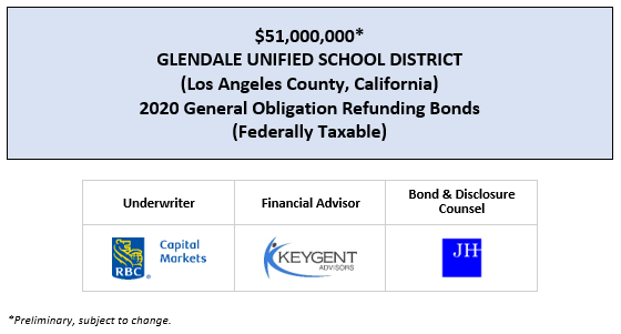 $51,000,000* GLENDALE UNIFIED SCHOOL DISTRICT (Los Angeles County, California) 2020 General Obligation Refunding Bonds (Federally Taxable) POS POSTED 5-5-20