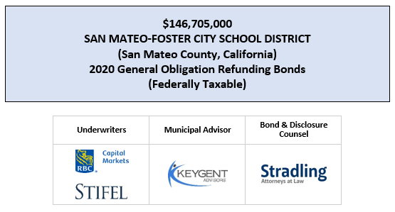 $146,705,000 SAN MATEO-FOSTER CITY SCHOOL DISTRICT (San Mateo County, California) 2020 General Obligation Refunding Bonds (Federally Taxable) FOS POSTED 5-5-20