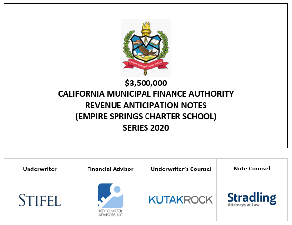 $3,500,000 CALIFORNIA MUNICIPAL FINANCE AUTHORITY REVENUE ANTICIPATION NOTES (EMPIRE SPRINGS CHARTER SCHOOL) SERIES 2020 Interest Rate: 4.000% Yield: 3.000%†  CUSIP No.: 13048VPU6‡ LOM POSTED 6-22-20