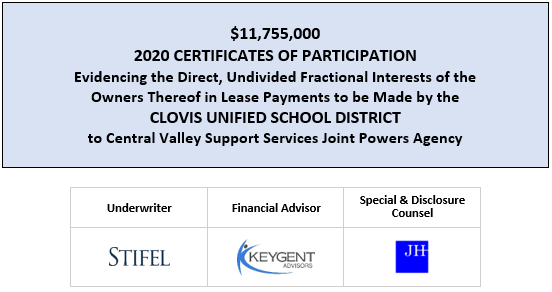 $11,755,000 2020 CERTIFICATES OF PARTICIPATION Evidencing the Direct, Undivided Fractional Interests of the Owners Thereof in Lease Payments to be Made by the CLOVIS UNIFIED SCHOOL DISTRICT to Central Valley Support Services Joint Powers Agency FOS POSTED 6-23-20