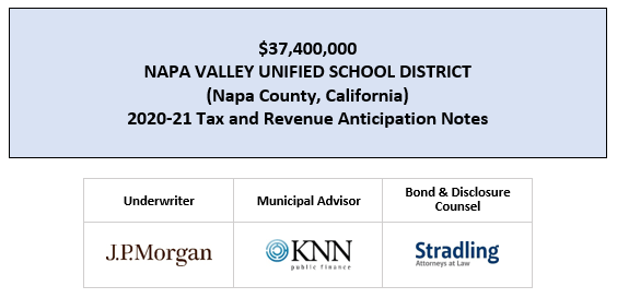 $37,400,000 NAPA VALLEY UNIFIED SCHOOL DISTRICT (Napa County, California) 2020-21 Tax and Revenue Anticipation Notes FOS POSTED 6-30-20