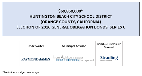 SUPPLEMENT DATED JUNE 30, 2020 TO PRELIMINARY OFFICIAL STATEMENT DATED JUNE 26, 2020 $69,850,000* HUNTINGTON BEACH CITY SCHOOL DISTRICT (ORANGE COUNTY, CALIFORNIA) ELECTION OF 2016 GENERAL OBLIGATION BONDS, SERIES C POS POSTED 6-26-20