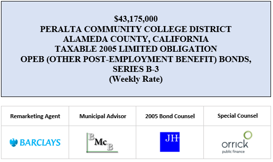 $43,175,000 PERALTA COMMUNITY COLLEGE DISTRICT ALAMEDA COUNTY, CALIFORNIA TAXABLE 2005 LIMITED OBLIGATION OPEB (OTHER POST-EMPLOYMENT BENEFIT) BONDS, SERIES B-3 (WEEKLY RATE) RE-OFFERING CIRCULAR POSTED 7-30-20