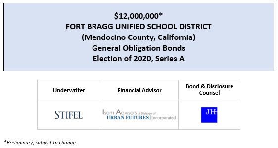$12,000,000* FORT BRAGG UNIFIED SCHOOL DISTRICT (Mendocino County, California) General Obligation Bonds Election of 2020, Series A POS POSTED 7-30-20