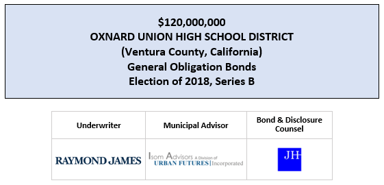 $120,000,000 OXNARD UNION HIGH SCHOOL DISTRICT (Ventura County, California) General Obligation Bonds Election of 2018, Series B FOS POSTED 7-21-20
