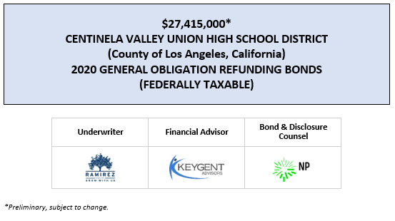 $27,415,000* CENTINELA VALLEY UNION HIGH SCHOOL DISTRICT (County of Los Angeles, California) 2020 GENERAL OBLIGATION REFUNDING BONDS (FEDERALLY TAXABLE) POS POSTED 8-4-20