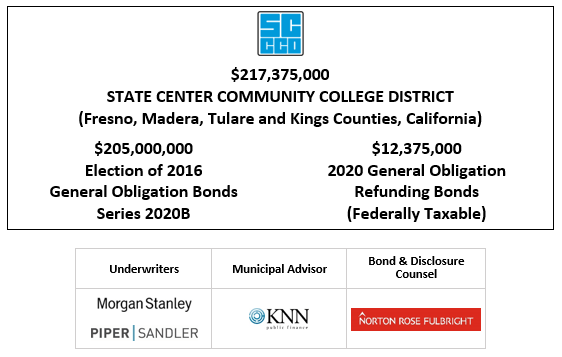 $217,375,000 STATE CENTER COMMUNITY COLLEGE DISTRICT (Fresno, Madera, Tulare and Kings Counties, California) $205,000,000 Election of 2016 General Obligation Bonds Series 2020B $12,375,000 2020 General Obligation Refunding Bonds (Federally Taxable) FOS POSTED 9-23-20