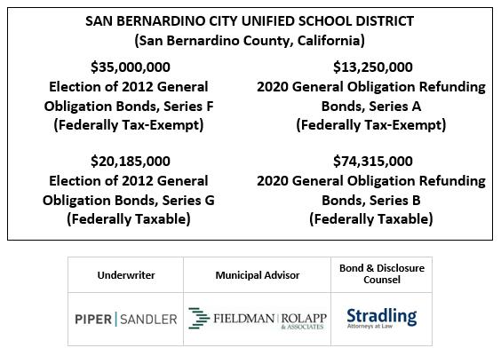 SAN BERNARDINO CITY UNIFIED SCHOOL DISTRICT (San Bernardino County, California) $35,000,000 Election of 2012 General Obligation Bonds, Series F (Federally Tax-Exempt) $20,185,000 Election of 2012 General Obligation Bonds, Series G (Federally Taxable) $13,250,000 2020 General Obligation Refunding Bonds, Series A (Federally Tax-Exempt) $74,315,000 2020 General Obligation Refunding Bonds, Series B (Federally Taxable) FOS POSTED 9-17-20