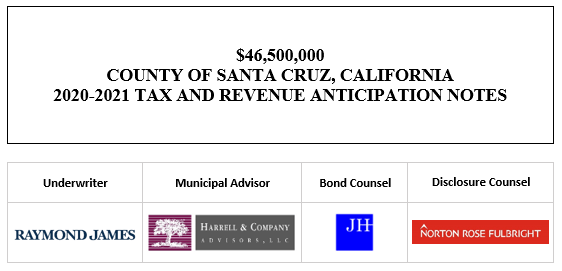 $46,500,000 COUNTY OF SANTA CRUZ, CALIFORNIA 2020-2021 TAX AND REVENUE ANTICIPATION NOTES FOS POSTED 9-23-20