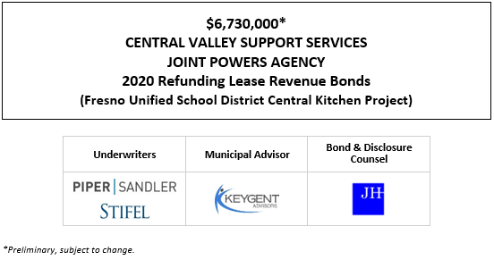 $6,730,000* CENTRAL VALLEY SUPPORT SERVICES JOINT POWERS AGENCY 2020 Refunding Lease Revenue Bonds (Fresno Unified School District Central Kitchen Project) POS POSTED 9-10-20