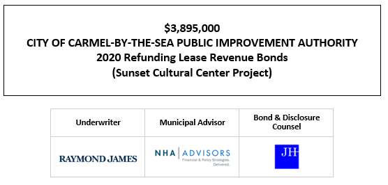 $3,895,000 CITY OF CARMEL-BY-THE-SEA PUBLIC IMPROVEMENT AUTHORITY 2020 Refunding Lease Revenue Bonds (Sunset Cultural Center Project) FOS POSTED 9-30-20