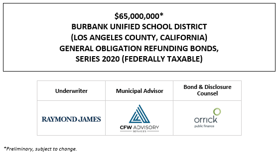 $65,000,000* BURBANK UNIFIED SCHOOL DISTRICT (LOS ANGELES COUNTY, CALIFORNIA) GENERAL OBLIGATION REFUNDING BONDS, SERIES 2020 (FEDERALLY TAXABLE) POS POSTED 9-18-20