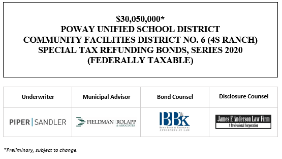 $30,050,000* POWAY UNIFIED SCHOOL DISTRICT COMMUNITY FACILITIES DISTRICT NO. 6 (4S RANCH) SPECIAL TAX REFUNDING BONDS, SERIES 2020 (FEDERALLY TAXABLE) POS POSTED 9-22-20