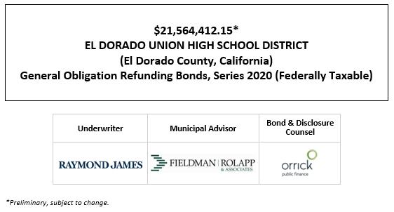 $21,564,412.15* EL DORADO UNION HIGH SCHOOL DISTRICT (El Dorado County, California) General Obligation Refunding Bonds, Series 2020 (Federally Taxable) POS POSTED 9-24-202