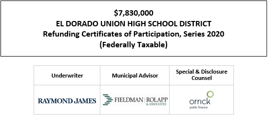 $7,830,000 EL DORADO UNION HIGH SCHOOL DISTRICT Refunding Certificates of Participation, Series 2020 (Federally Taxable) FOS POSTED 10-6-20