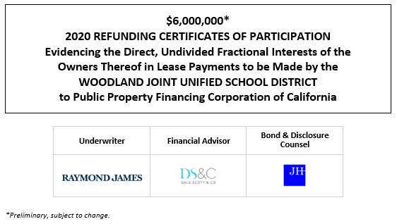 $6,000,000* 2020 REFUNDING CERTIFICATES OF PARTICIPATION Evidencing the Direct, Undivided Fractional Interests of the Owners Thereof in Lease Payments to be Made by the WOODLAND JOINT UNIFIED SCHOOL DISTRICT to Public Property Financing Corporation of California POS POSTED 10-8-20