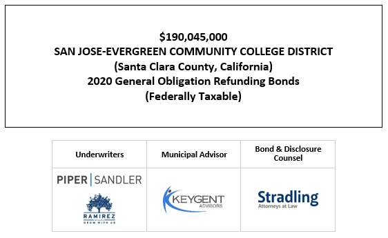 $190,045,000 SAN JOSE-EVERGREEN COMMUNITY COLLEGE DISTRICT (Santa Clara County, California) 2020 General Obligation Refunding Bonds (Federally Taxable) FOS POSTED 10-29-20