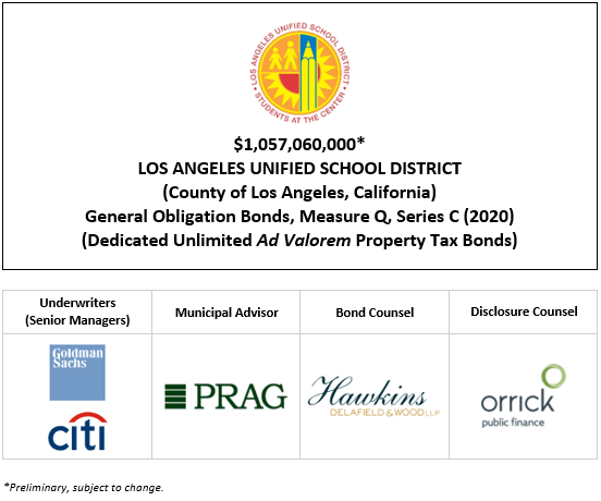 $1,057,060,000* LOS ANGELES UNIFIED SCHOOL DISTRICT (County of Los Angeles, California) General Obligation Bonds, Measure Q, Series C (2020) (Dedicated Unlimited Ad Valorem Property Tax Bonds) POS + INVESTOR PRESENTATION POSTED 10-20-20
