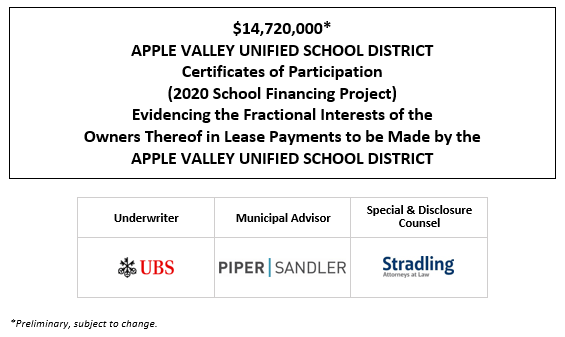 $14,720,000* APPLE VALLEY UNIFIED SCHOOL DISTRICT Certificates of Participation (2020 School Financing Project) Evidencing the Fractional Interests of the Owners Thereof in Lease Payments to be Made by the APPLE VALLEY UNIFIED SCHOOL DISTRICT POS POSTED 10-21-20