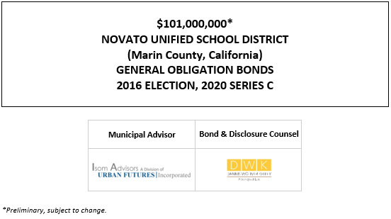 $101,000,000* NOVATO UNIFIED SCHOOL DISTRICT (Marin County, California) GENERAL OBLIGATION BONDS 2016 ELECTION, 2020 SERIES C POS POSTED 10-21-20