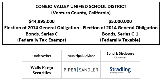 CONEJO VALLEY UNIFIED SCHOOL DISTRICT (Ventura County, California)  $44,995,000 Election of 2014 General Obligation Bonds, Series C (Federally Tax-Exempt) $5,000,000 Election of 2014 General Obligation Bonds, Series C-1 (Federally Taxable) FOS POSTED 11-5-20