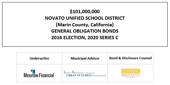 $101,000,000 NOVATO UNIFIED SCHOOL DISTRICT (Marin County, California) GENERAL OBLIGATION BONDS 2016 ELECTION, 2020 SERIES C FOS POSTED 11-3-20