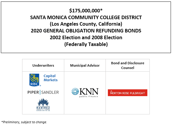 $175,000,000* SANTA MONICA COMMUNITY COLLEGE DISTRICT (Los Angeles County, California) 2020 GENERAL OBLIGATION REFUNDING BONDS 2002 Election and 2008 Election (Federally Taxable) POS POSTED 11-19-20