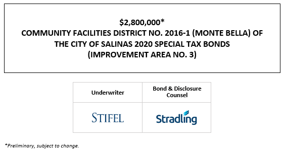 $2,800,000* COMMUNITY FACILITIES DISTRICT NO. 2016-1 (MONTE BELLA) OF THE CITY OF SALINAS 2020 SPECIAL TAX BONDS (IMPROVEMENT AREA NO. 3) POS POSTED 12-2-20