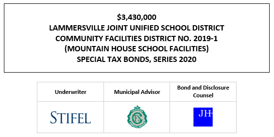$3,430,000 LAMMERSVILLE JOINT UNIFIED SCHOOL DISTRICT COMMUNITY FACILITIES DISTRICT NO. 2019-1 (MOUNTAIN HOUSE SCHOOL FACILITIES) SPECIAL TAX BONDS, SERIES 2020 FOS POSTED 12-18-20