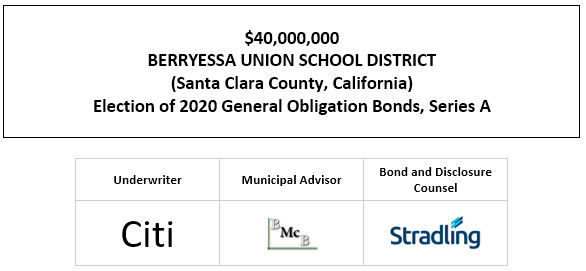 $40,000,000 BERRYESSA UNION SCHOOL DISTRICT (Santa Clara County, California) Election of 2020 General Obligation Bonds, Series A FOS POSTED 12-23-20