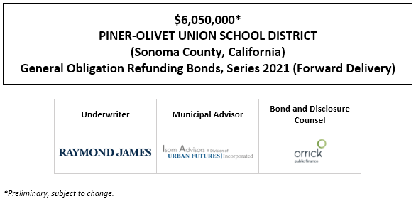 $6,050,000* PINER-OLIVET UNION SCHOOL DISTRICT (Sonoma County, California) General Obligation Refunding Bonds, Series 2021 (Forward Delivery) POS POSTED 12-30-20