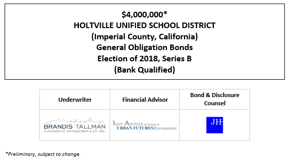 $4,000,000* HOLTVILLE UNIFIED SCHOOL DISTRICT (Imperial County, California) General Obligation Bonds Election of 2018, Series B (Bank Qualified) POS POSTED 1-6-21