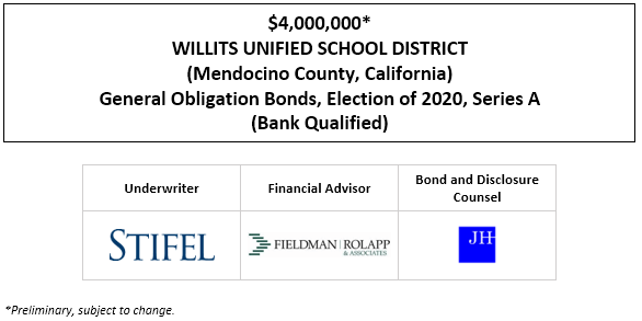 $4,000,000* WILLITS UNIFIED SCHOOL DISTRICT (Mendocino County, California) General Obligation Bonds, Election of 2020, Series A (Bank Qualified) POS POSTED 1-6-21