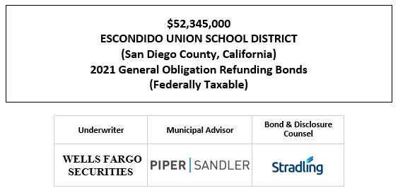 $52,345,000 ESCONDIDO UNION SCHOOL DISTRICT (San Diego County, California) 2021 General Obligation Refunding Bonds (Federally Taxable) FOS POSTED 1-19-21