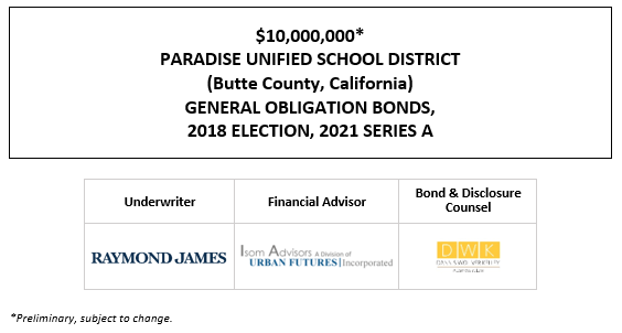 $10,000,000* PARADISE UNIFIED SCHOOL DISTRICT (Butte County, California) GENERAL OBLIGATION BONDS, 2018 ELECTION, 2021 SERIES A POS POSTED 1-14-21