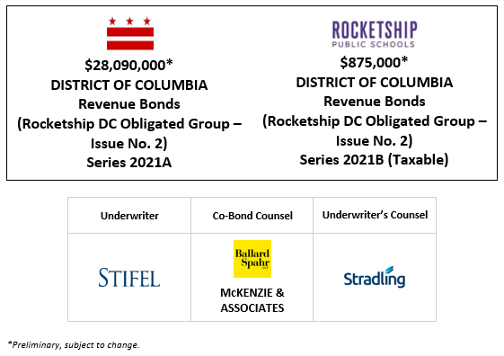 $28,090,000 * DISTRICT OF COLUMBIA Revenue Bonds (Rocketship DC Obligated Group – Issue No. 2) Series 2021A $875,000∗ DISTRICT OF COLUMBIA Revenue Bonds (Rocketship DC Obligated Group – Issue No. 2) Series 2021B (Taxable) PLOM POSTED 1-15-21