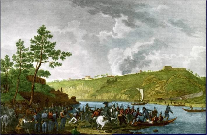 A gravura documenta a passagem do rio Douro pelas tropas do exército anglo-luso sob o comando de Wellesley (Duque de Wellington) no dia 12 de Maio de 1809. Vê-se o Seminário Velho e o Prado do Bispo. Foto Internet - Blogue DO PORTO E NÃO SÓ
