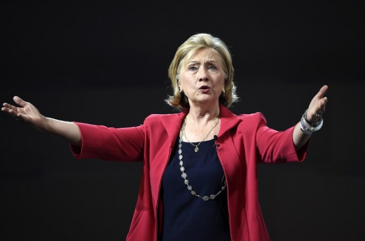 """Former US Secretary of State Hillary Clinton delivers a speech during a conference at the National Auditorium in Mexico city, on September 5, 2014 in the framework of Telmex foundation's """"Mexico Siglo XXI"""" forum, owned by Mexican tycoon Carlos Slim. AFP PHOTO/RONALDO SCHEMIDT / AFP PHOTO / RONALDO SCHEMIDT"""
