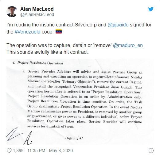 115 O contrato dos mercenários de Guaidó sobre o venezuelano Maduro reflete 2