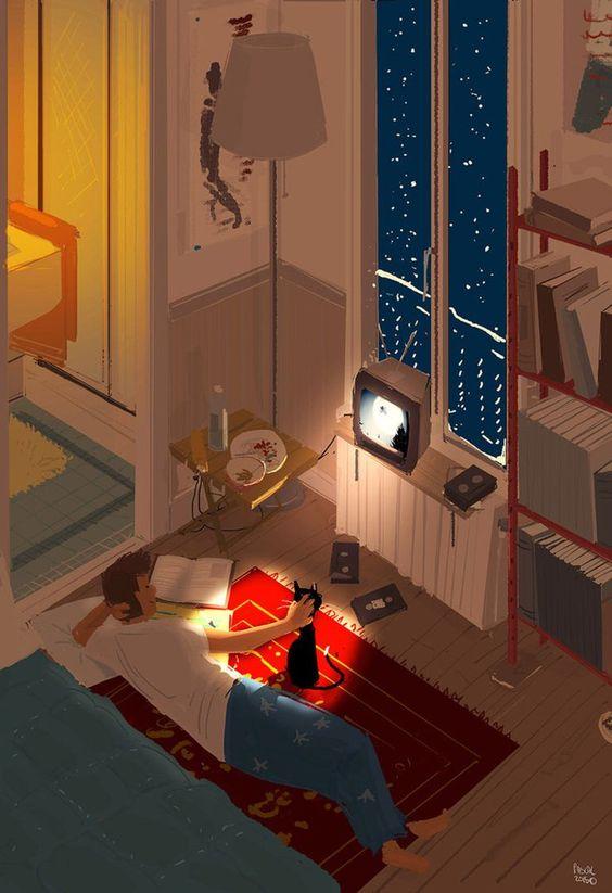 Movie night. by illustrator PascalCampion found on @DeviantArt